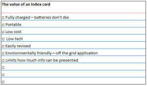 value of index card