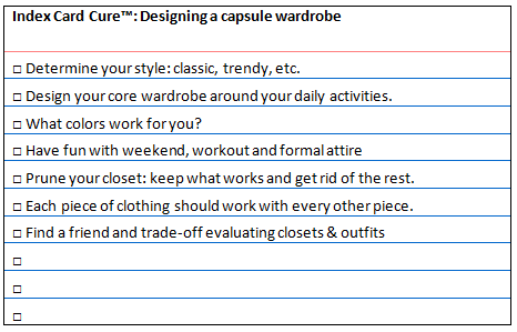 IndexCard Cure™: Steps to achieving a Capsule Wardrobe (2/2)