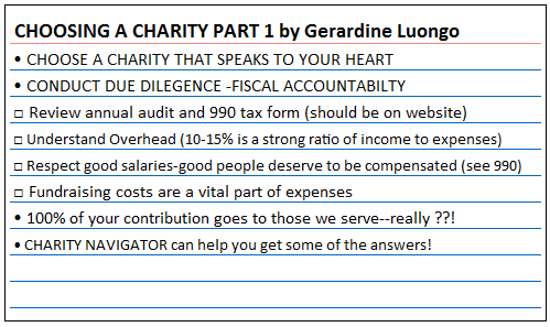 IndexCard Cure™: Choosing a Charity by Gerardine Luongo