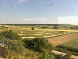 view from the train of the French countryside